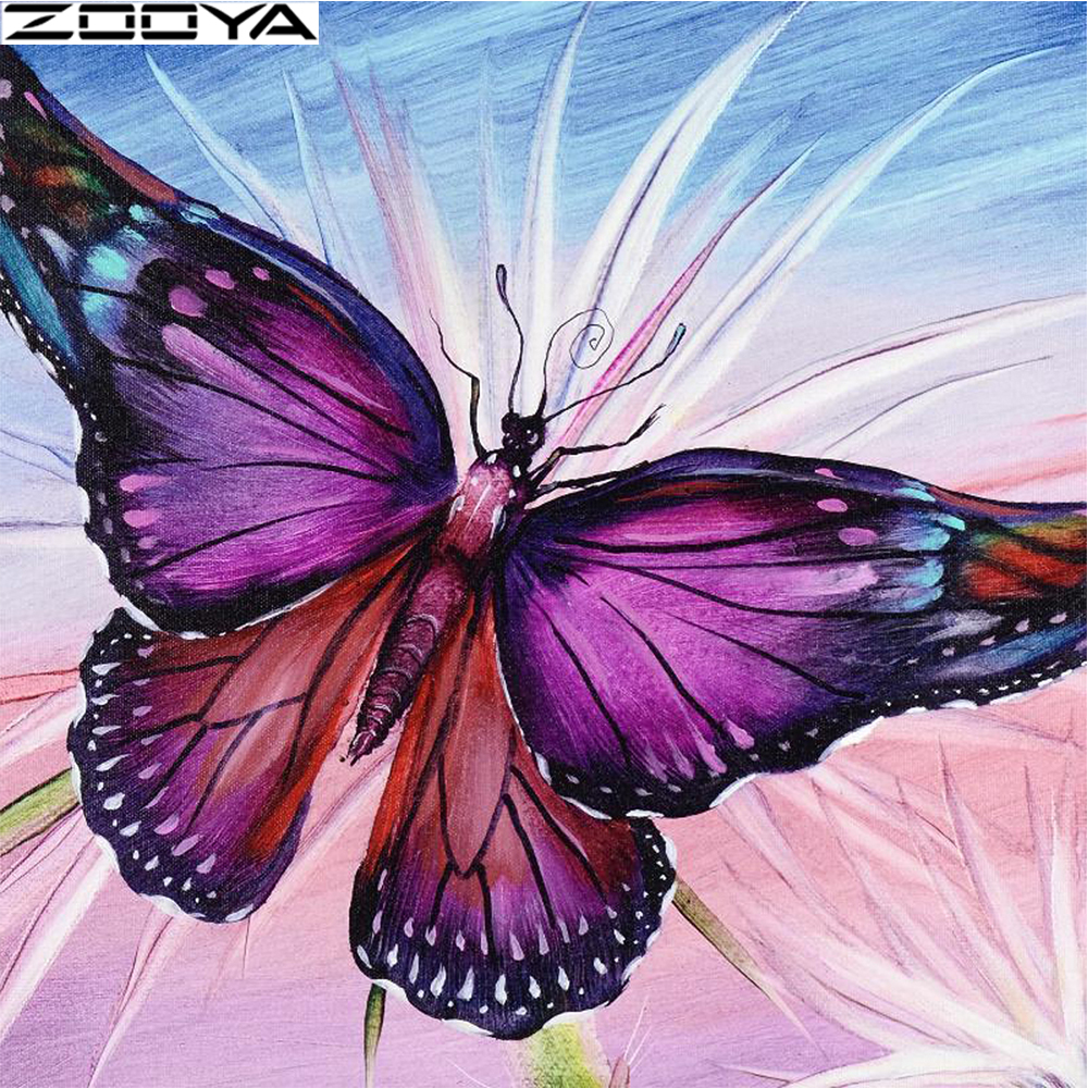 ZOOYA 5D DIY Full Square Diamond Painting Butterfly Mosaic Diamond Embroidery Decoration Home Picture Of Rhinestone Animal ZW041