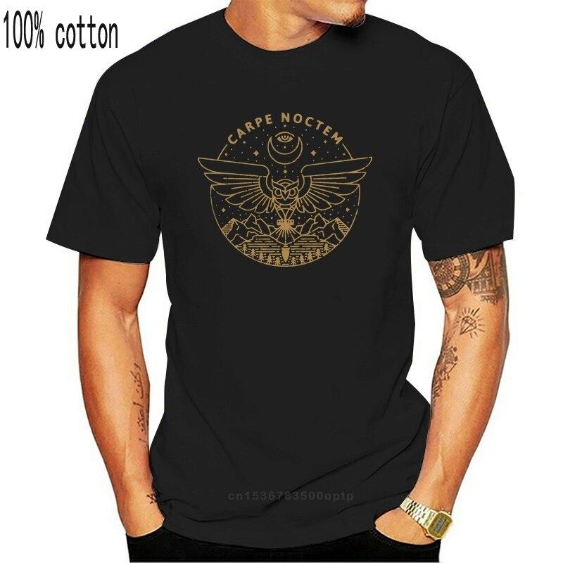 Carpe Noctem Diem T-Shirt hommes randonnée Camping nocturne hibou cadeau hauts manches courtes drôle T-Shirt col rond 100% coton t-shirts