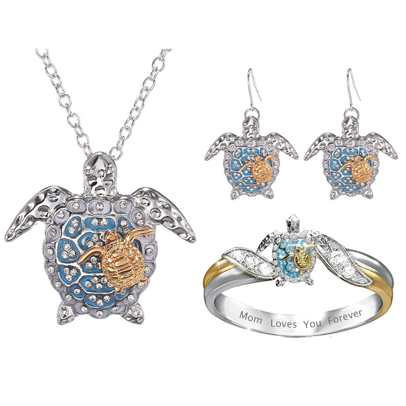 Fashion Blue Sea Turtle Jewelry Sets for Women Cartoon Animal Necklace/Ring/Earrings Jewelry Sets&More Lady Jewelry Accessories
