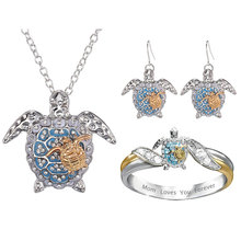 Fashion Blue Sea Turtle Jewelry Sets for Women Cartoon Animal Necklace Ring Earrings Jewelry Sets amp More Lady Jewelry Accessories cheap benefaith Zinc Alloy CRYSTAL Cute Romantic Necklace+Ring+Earrings Necklace Earrings A52C67R215 Engagement