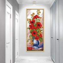 Poppies Cross Stitch Kit in Celadon Vase Beautiful Red Flowers and Vase 14ct Printed Fabric Chinese Embroidery Home Decoration