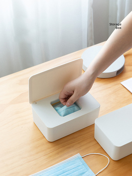 Mask Storage Box Large-Capacity Household Plastic Dust-proof Sealed Wet Tissue Box For Mouth And Nose Mask Box image