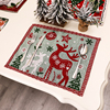 Christmas Table Mats Merry Christmas Placemat Ornament Heatproof Cloth Kitchen Decor For Home Xmas Santa Claus Hat Cutlery set