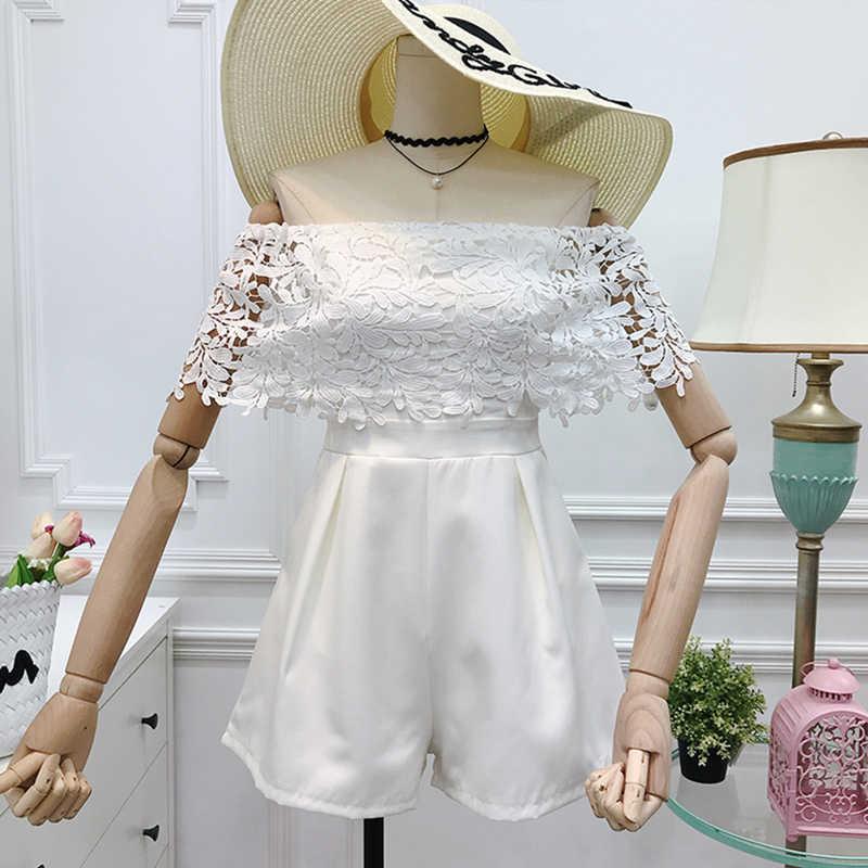 Kobiety lato koronkowe drążą poziome szyi Playsuits nowe mody luźna szeroka noga spodnie kobiece zwężone obcisłe kostiumy ZX302