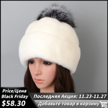 Hats Bonnets Fox-Fur Real-Mink-Fur Winter Luxury Pom-Pom Women for The New-Style