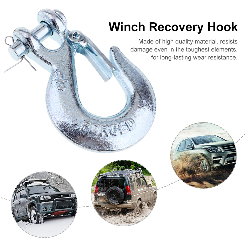 1 Pcs 1/4'' Winch Cable Hook Clevis Rigging Tow Trailer With Latch  For ATV/Trailer/Boat 3.9*2.5 Inch Spring-Loaded Safety Latch