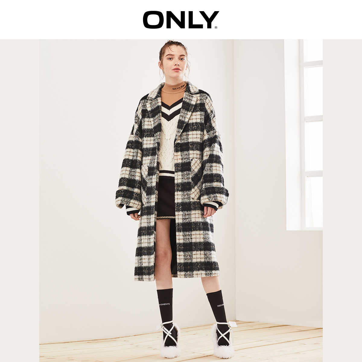 ONLY  Autumn Winter Women's Checked Roll-up Woolen Coat | 11936U506