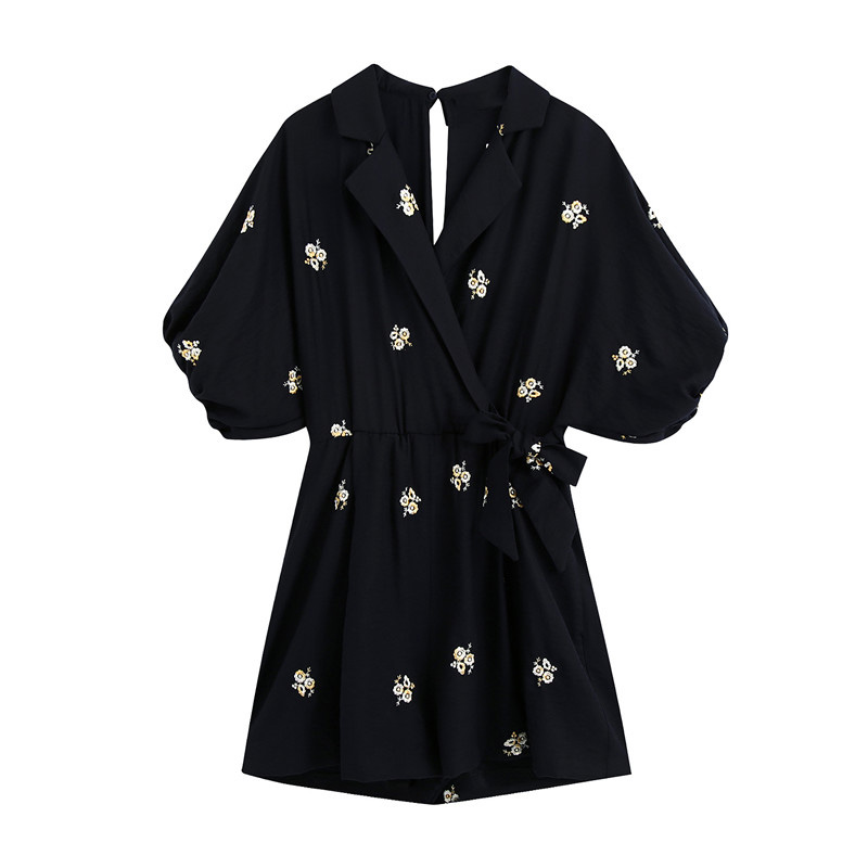 Women Chic Floral Embroidery Playsuits Vintage Cross V Neck Puff Sleeves Female Short Jumpsuits Club Loose Women Blouse 2020