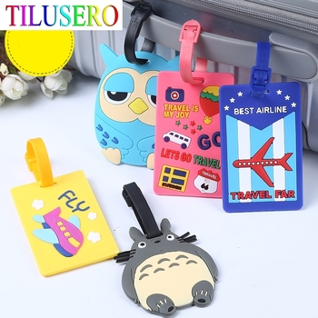 Fashion Map Suitcase Luggage Tag Cartoon ID Address Holder Baggage Label Silica Ge Identifier Travel Accessories - discount item  20% OFF Travel Accessories