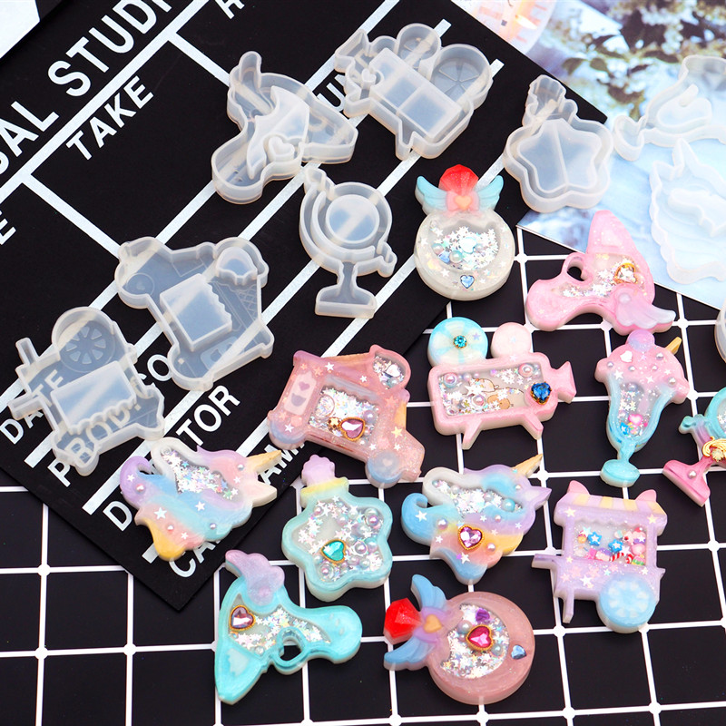 1pc Store Drink Cup Star Wing Shaker Silicone Molds Jewelry Mold Star Bear Key Chain Charm Jewelry Craft Tool