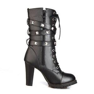 Image 2 - Morazora 2020 nova chegada botas de tornozelo feminino dedo do pé redondo sapatos de salto alto zip rendas até rebite outono botas de inverno feminino tamanho grande 48