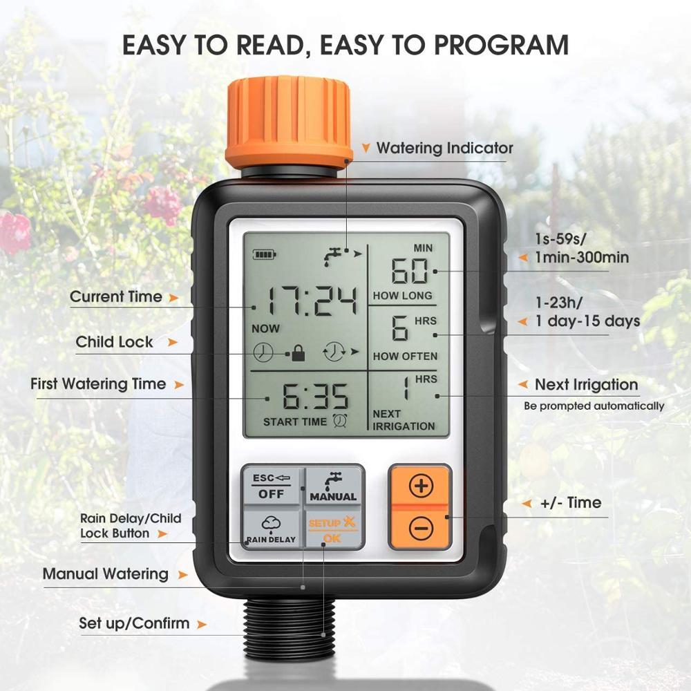 Écran LCD électronique automatique minuterie d'eau contrôleur d'arrosage extérieur minuterie de jardin dispositif d'arrosage automatique outils d'irrigation