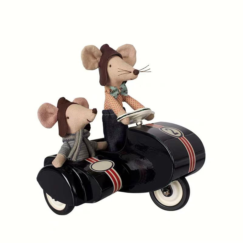 Super Cool Metal Double Motorcycle, Doll, Vehicle Side, Three Wheels, Nordic Ins Children's Family Toy Boys And Girls Gift