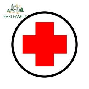 EARLFAMILY 13cm For Red Cross Vinyl Material Car Stickers Trunk Decal Car Styling Personality Refrigerator Decoration