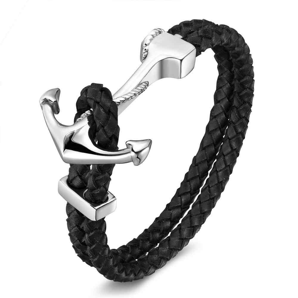 男性の高級チタン鋼ヴィンテージ本革ブレスレットステンレス鋼シルバーゴールドアンカー腕章ファッションジュエリーブレスレット