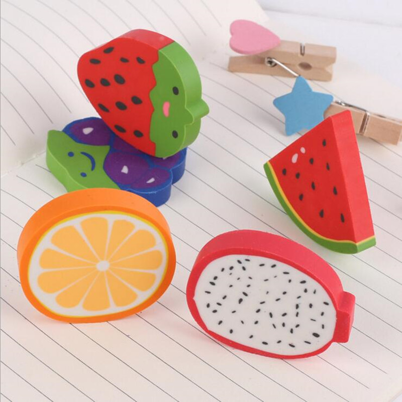 1 Pcs/lot Small Kawaii Grape Strawberry Fruit Eraser For Kids Back To School Material Escolar Papelaria