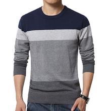 Новинка мода шикарный мужской цвет блок O шея длинный рукав тонкий пуловер блузка вязаный свитер