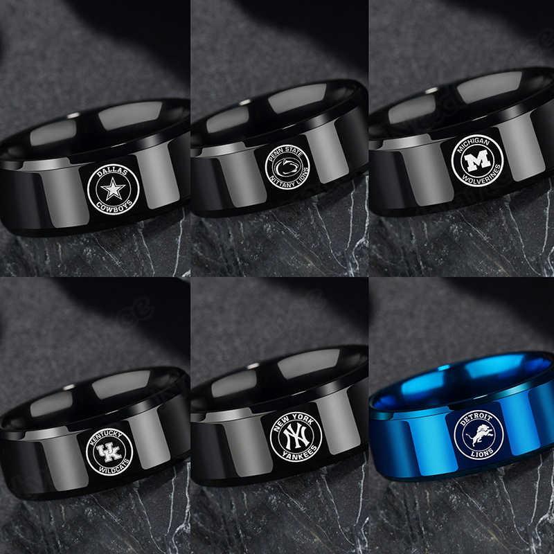 Nextvance 8mm WildcatsDodge Cowboys Anéis Dos Homens de Aço Inoxidável Preto Azul Da Equipe Bola Anéis Simples