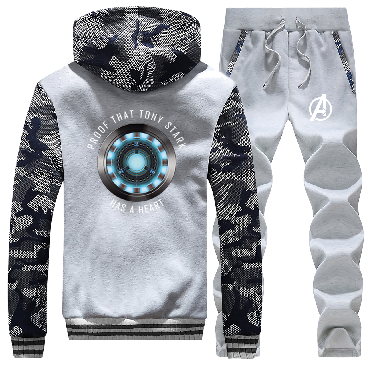 Marvel Avengers Iron Man Fleece Camo Hoodies Pants Men's 2pcs Sets Tony Stark Has A Heart Sportswear Mens Sweatshirts Streetwear