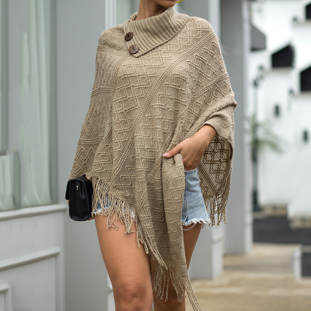 Women Winter Knitted  Winter Scarf Cashmere Poncho Capes Warmer Shawl Vintage Cardigans Sweater Coat Boho Wraps Tassel Ponchos