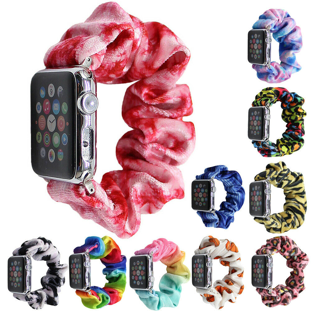 For Apple Watch Band 34/42mm 5 4 Casual Women Elastic Scrunchie Wristbands Strap