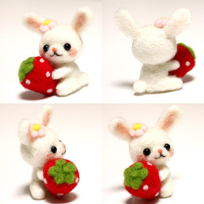 LMDZ1Pcs Wool Felt Needle Poked Kitting DIY Cute Animal Rabbit Wool Felting Package Non-Finished Handmade Pets Toy Doll DIY Pack