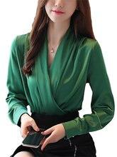 Женские шелковые блузки атласные однотонные топы и размера плюс