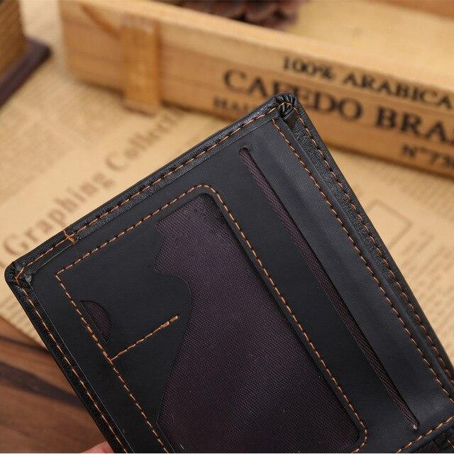 Fashion Men Wallets Luxury Brand Famous Leather Card Cash Receipt Holder Organizer Bifold Short Wallet Purse with Zipper 3