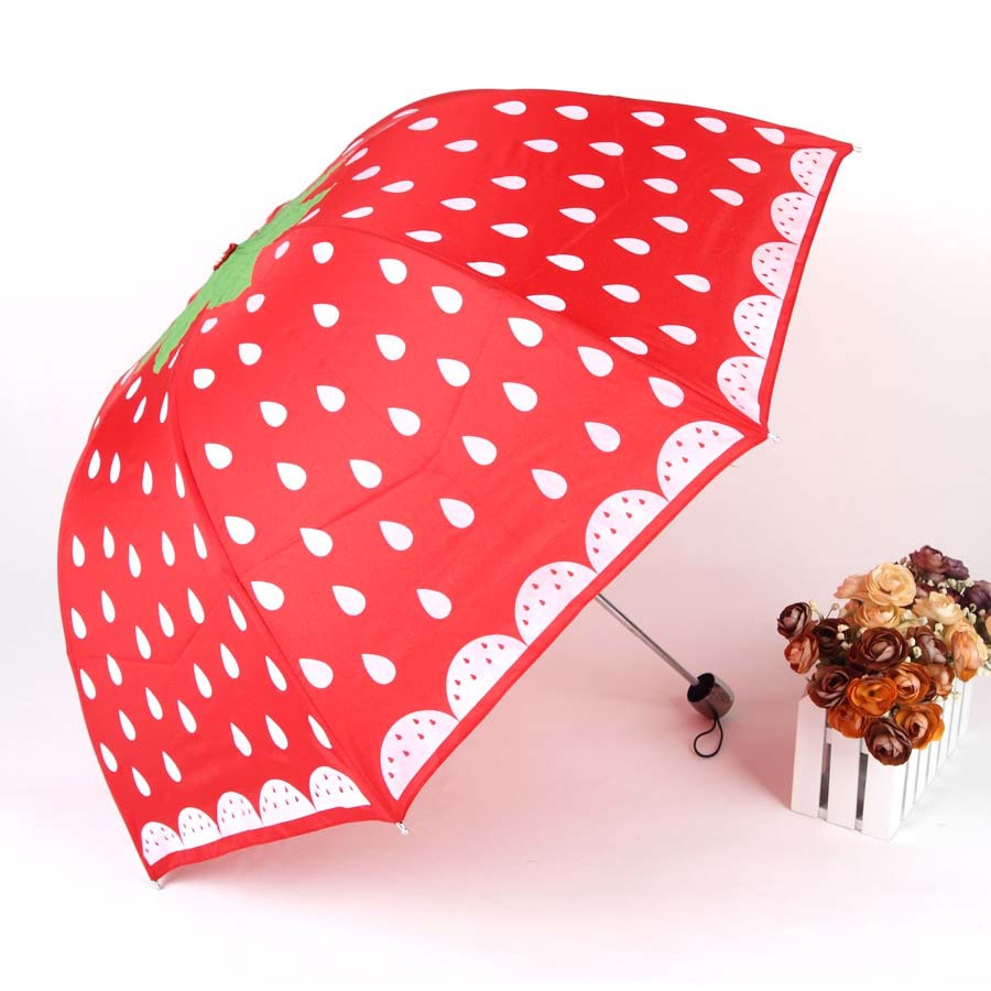 Aurora Umbrella Factory Supply Of Goods Direct Selling Customizable TS-1270 Folding Umbrella Cayi San Strawberry Cartoon Gift Um