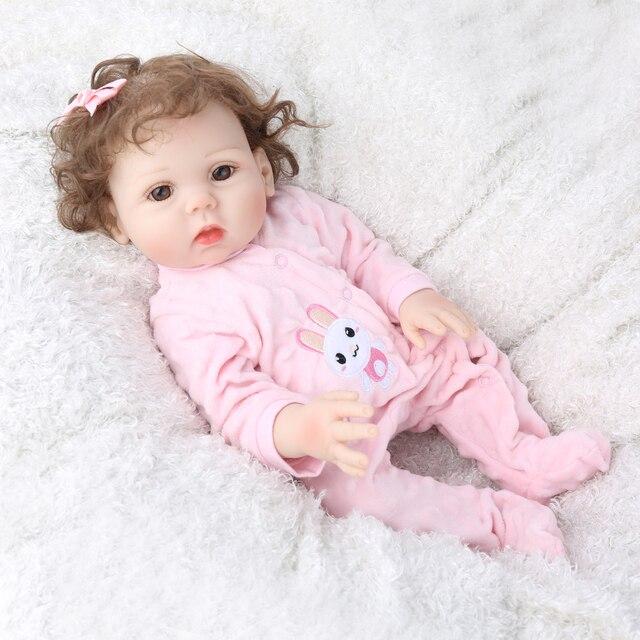 18Inch Bebe Reborn Baby Girl Dolls Full Body Silicone Vinyl Realistic Bebes Boneca Reborn for Girls Kids Birthday Christmas Gift 3