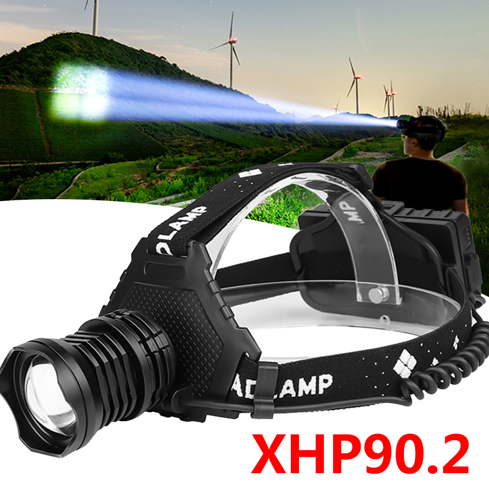 Xhp90.2 Led Headlamp Headlight The Most Powerful 32W 4291lm Head Lamp Zoom Power Bank 7800mAh 18650 Battery