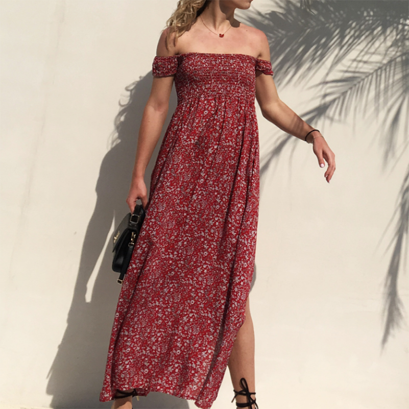 Print Strapless Off Dress Fit And The Dresses 2020 Short Sleeve Shoulder Waist Female Sexy High Fashion Flare Summer Women Casua