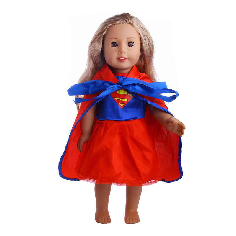 Halloween unicórnio saia & superman manto conjunto para 18 polegada americano & 43 cm bebê boneca roupas acessórios geração presente de natal