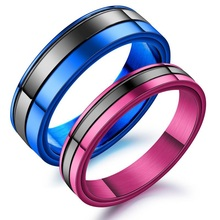купить 1PCS Stainless Steel Men Ring Jewelry Couple Rings For Women Dropshipping Lovers Rings Fashion Wedding Engagement Rings дешево