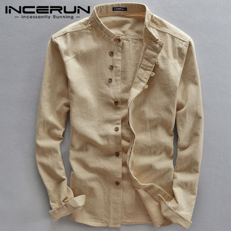INCERUN Spring Fashion Men Shirts Stand Collar Solid Long Sleeve Streetwear Men Business Brand Shirts Cotton Chemise Tops 2020