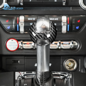 Image 2 - Airspeed for Ford Mustang Carbon Fiber Sticker Ford Mustang Accessories 2015 2016 2017 2018 2019 Interior Gear Shift Knob Cover