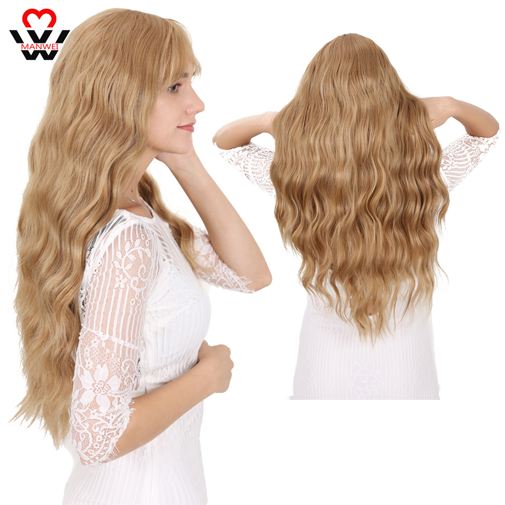 Long Curls Pink Red  Green Womens Wigs With Bangs Water Wave Heat Resistant Synthetic Wigs For Women African American