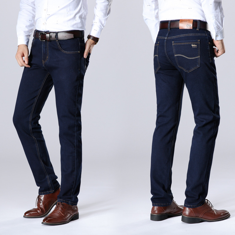 MEN'S Jeans Spring And Summer Thin Elasticity Cowboy Long Pants Fashion Straight Large Size Business Casual Cowboy