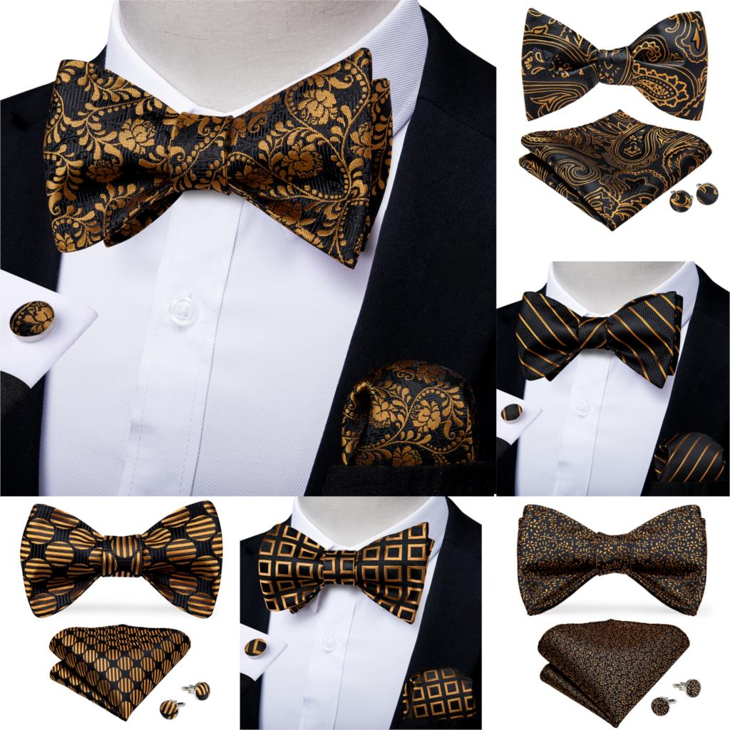 Men Fashion Gold Black Bowtie Self Tie Bow Tie Men Formal Dress Wedding Bowtie Set Pocket Square Cufflinks Men Gift DiBanGu