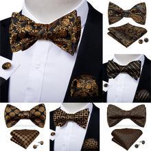 Men Fashion Gold Black Bowtie Self Tie Bow