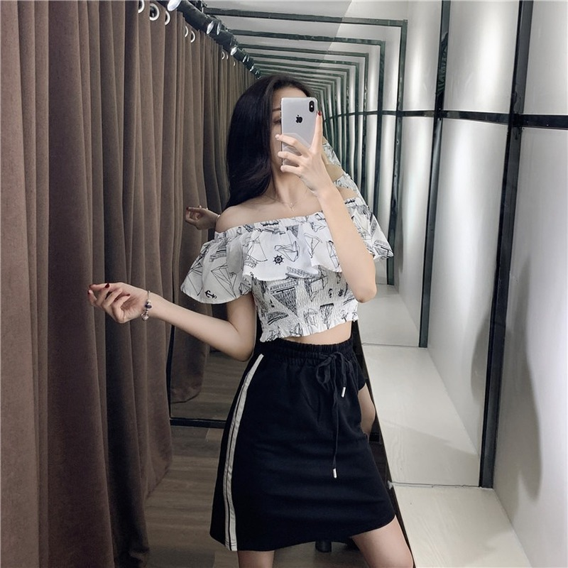 2020 New Summer tops Women Fashion Black White Two Piece Set Skirt Slash Neck Short Print Ruffles Off Shoulder Streetwear Mini