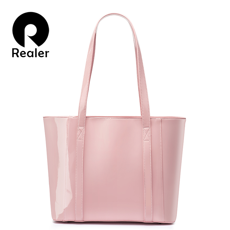 REALER Women Handbag Waterproof Microfiber Synthetic Leather Bag Female Large Capacity Shoulder Bag Shopping Tote Bags Sweet