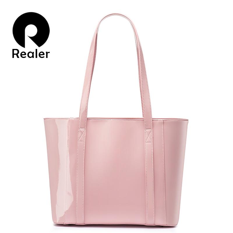 REALER Women Handbag Waterproof Microfiber Synthetic Leather Bag Female Large Capacity Shoulder Bag Shopping Tote Bags Sweet