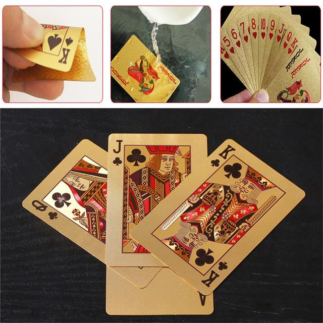 24K Gold Playing Cards Poker Game Deck Gold Foil Poker Set Plastic Magic Card Waterproof Cards Magic 3