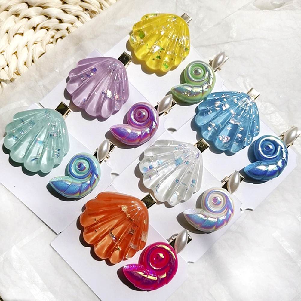 2PCS Fashion Acetate Conch Sea Shell For Women Girls Hair Clips Hairpin Duckbill Barrettes Hair Accessories Beach   Headwear