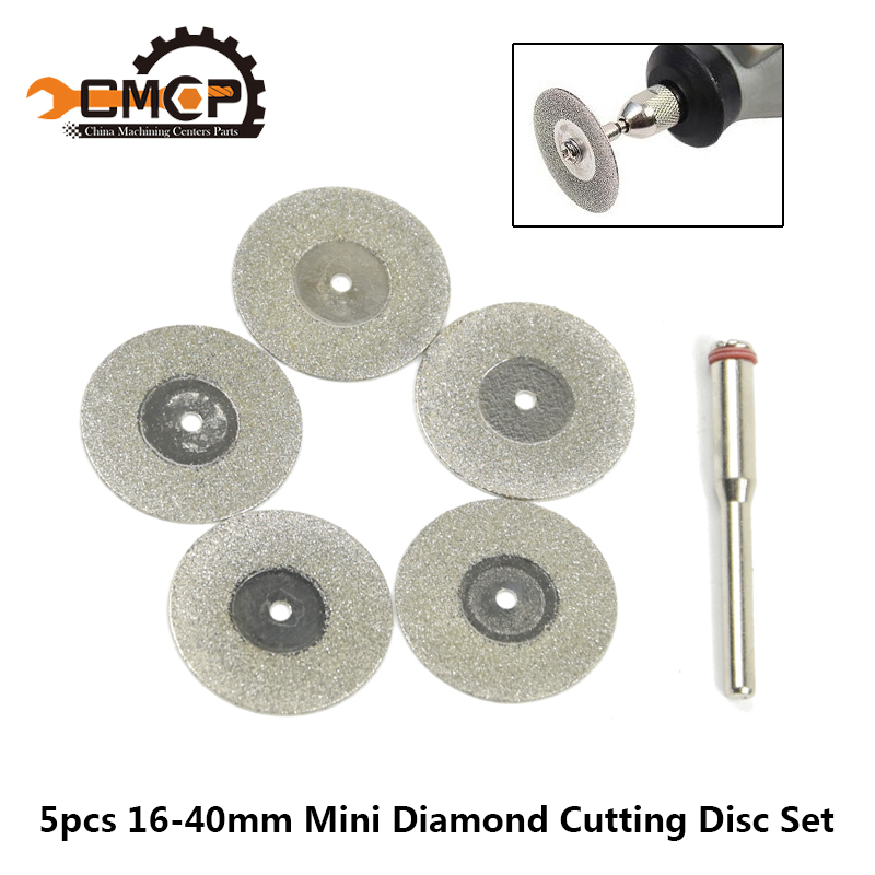 5pcs 16/18/20/22/25/30/35/40mm Diamond Cutting Disc With Mandrel For Dremel Accessories Mini Diamond Saw Blade Set Diamond Discs