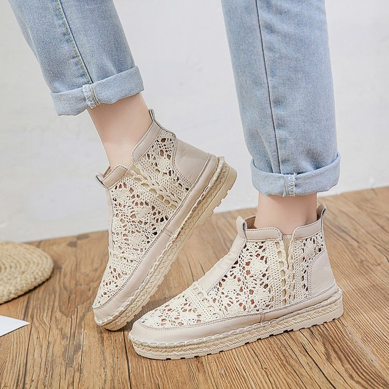 Hollow Out Women Boots Flats Slip on Solid Ankle Short Boot Round Toe Shoes For Women Thick soled British Style Boots Women