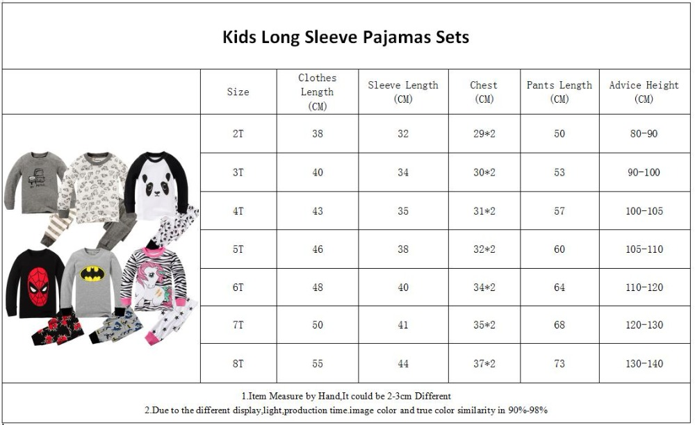 PW-A-Long Sleeve Pajamas Size 2-8Years
