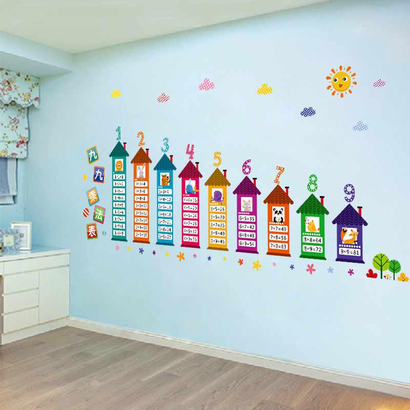 Útil estudio Adhesivo de pared PVC niños habitación 90-nueve Tabla de multiplicación Digital Animal CASA MESA decoración pegatina