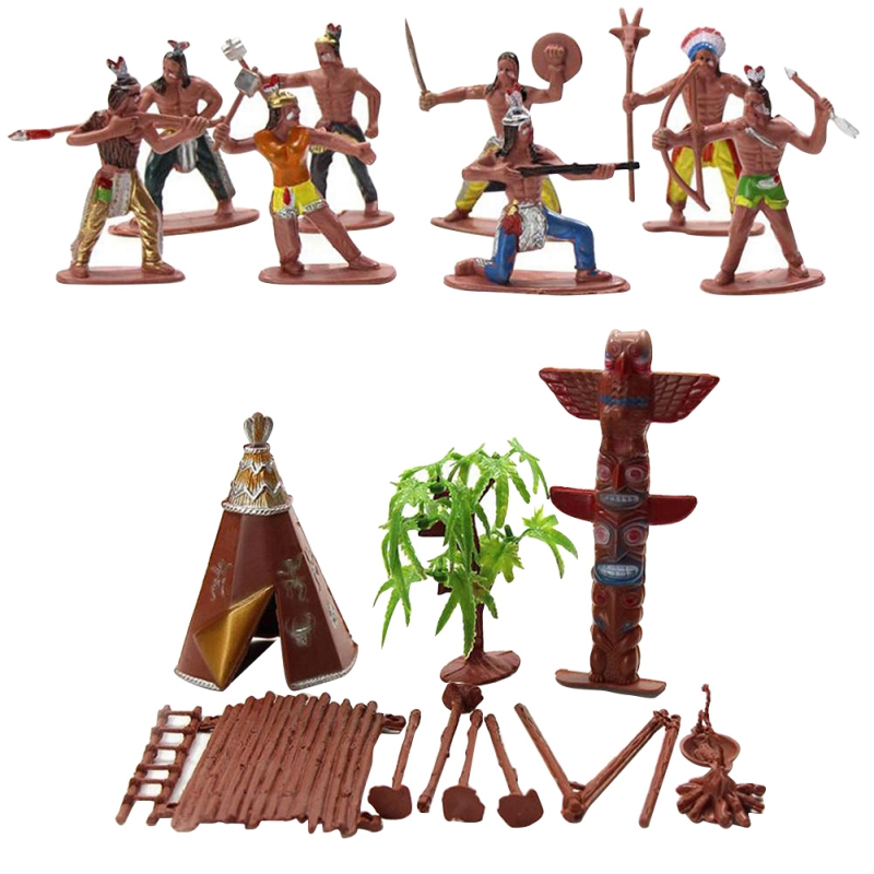 Indian Model Toy Primitive Tribe American Aboriginal Figure Doll Wild West Cowboys Plastic Figures Soldiers For Kids